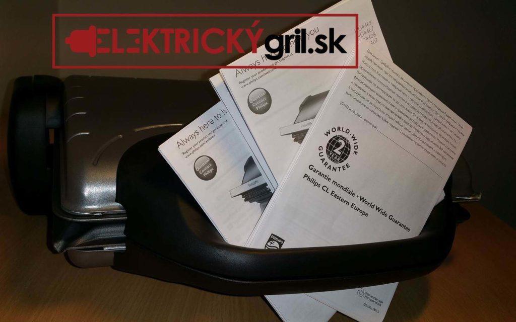 Záručný list k elektrickému grilu Philips